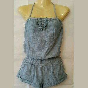 Abercrombie & Fitch Chambray Halter Shorts Romper